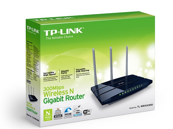 Router Wireless TP-Link (TL-WR1043N) 300Mbps (N) 3 Ant Det